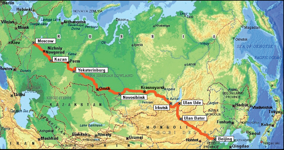 Map route for Trans-Mongolian rail journey