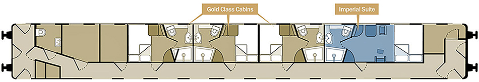 Floor Plan, Gold & Imperial Suite Cabins