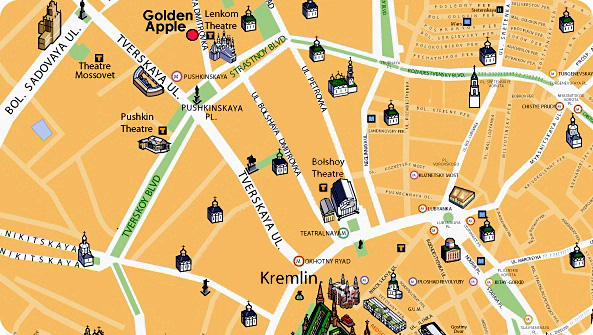 Moscow Map wiith Golden Apple Boutique Hotel *****