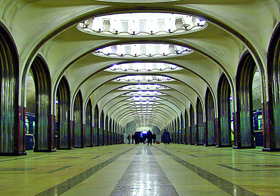 Mayakovskaya Metro Station, one of the oldest, downtown Moscow