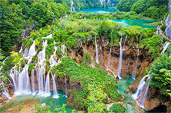 Waterfalls of Plitvice Lakes National Park, in the centre of Croatia