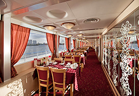 Russian Waterways: MS L.Tolstoy cruise boat, restaurant hall