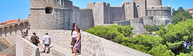 Dubrovnik thick stonewalls at some points exceed 25 feet. UNESCO-listed fortress encircles & protects old section of the city. One of key must-see attractions in Croatia and entire Europe