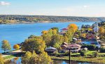 Panorama of tranquil town of Plyos, a part of the Golden Ring of Russian towns, along the Grand Volga River Cruise 2018